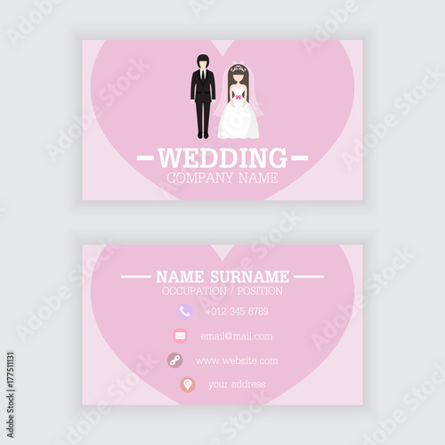 Vector design of wedding business card template\