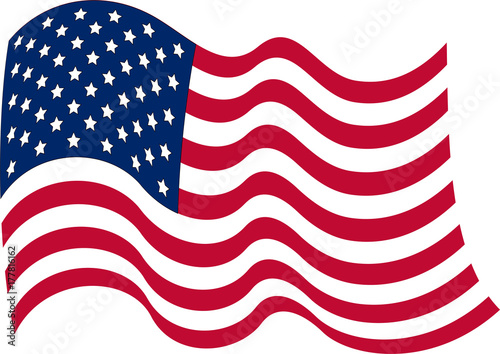 US-flag-United States of America flag with waves,- Vector image of - America Flag Background