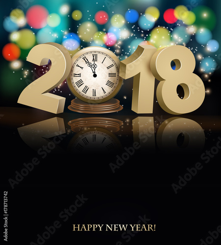 Happy New Year background with 2018, a clock and fireworks Vector