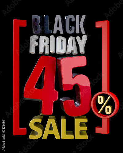 BLACK FRIDAY SALE 45  SALES word on black background illustration - sales word