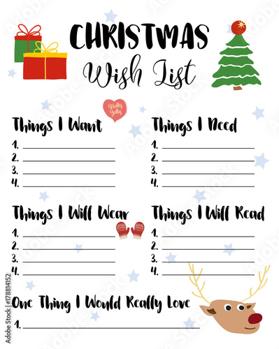 Christmas Wishlist for kids, vector illustration Cute cartoon hand - Kids Christmas List Template