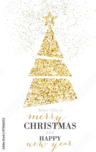 Elegant Christmas Tree, Glitter, Gold\