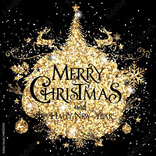 Elegant Merry Christmas, Gold, Glitter\