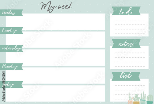 Green weekly planner with cactus, stationery organizer for daily