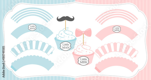Set of cupcake wrappers vector template Pink and blue with white