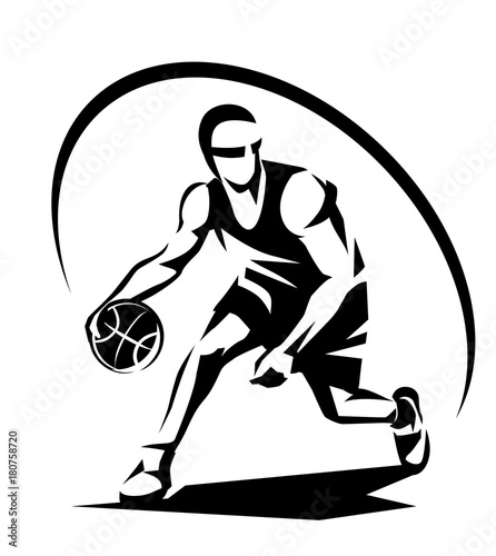 basketball player stylized vector silhouette, logo template in - black and white basketball template