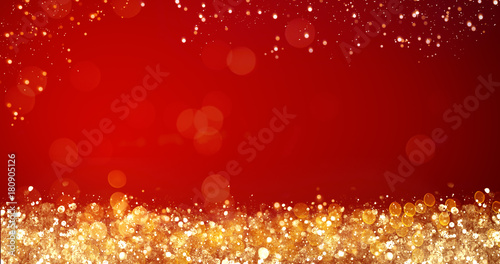 golden and silver xmas lights on red background for merry christmas