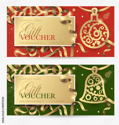 Christmas gift certificate New Year gift coupon Vector template