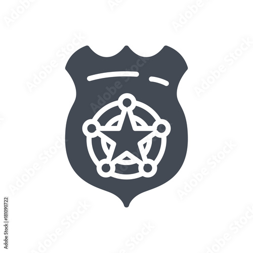 Police Equipment silhouette icon office badge star\