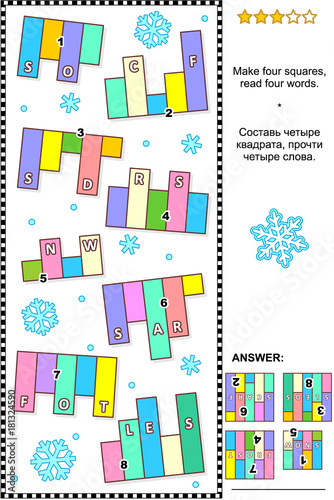 Winter themed IQ training abstract visual word puzzle (English