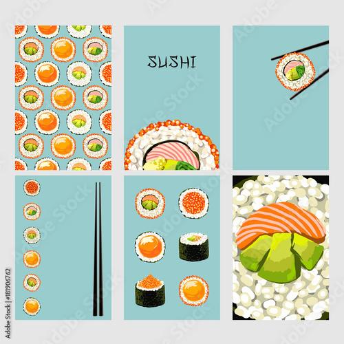 Set of Japanese food cards Set of sushi on blue background Sushi