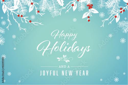 Turquoise Happy Holidays and Joyful New Year Vector Illustration 1 - happy holidays and new year greetings