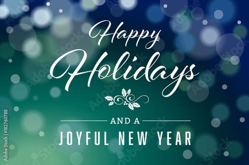 Dark Green Happy Holidays and Joyful New Year Horizontal Vector 2