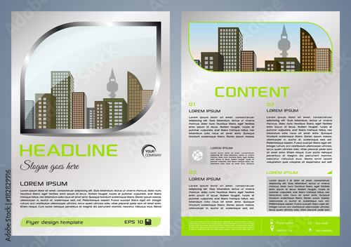 Vector flyer, corporate business, annual report, brochure design and - presentation cover with window