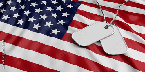 USA army concept, Identification tags on America flag background 3d - America Flag Background