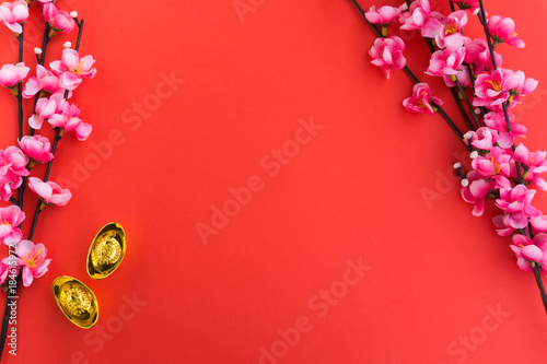 Chinese New Year Background Ornaments, Plum Flowers and Gold Ingots