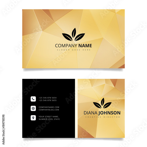 Gold geometric business card Modern simple business card vector