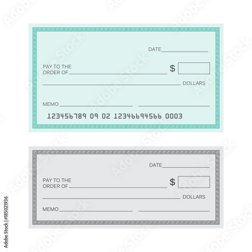 Blank check template Check vector template Banking check template