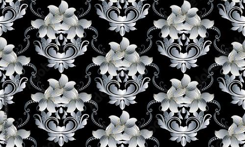 Vintage floral seamless pattern Vector black damask background