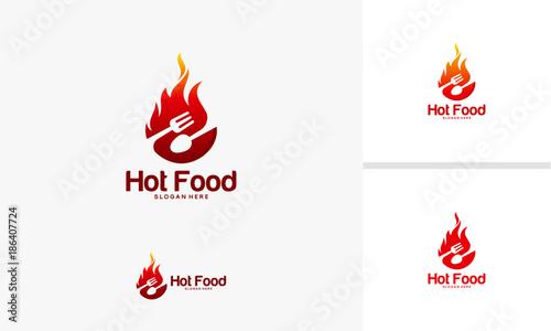 Hot Food logo designs concept, Food Restaurant logo designs, Fire