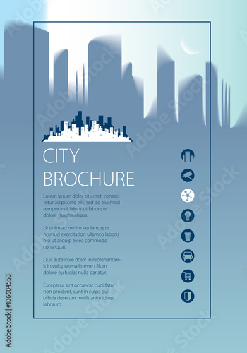 Minimal city traveling tourist information Brochure, flyer, cover - guidebook template
