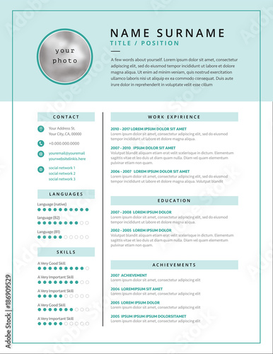Medical CV / resume template example design for doctors - vector