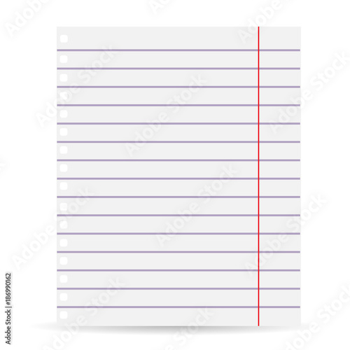 Notebook blank paper background A sheet of paper in line Isolated