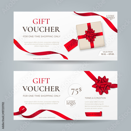 Vector set of elegant gift vouchers with red ribbons, bows and gift