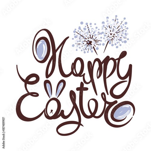 Happy Easter / Hand Drawn Easter Greeting Card Template\