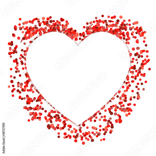 Red confetti Heart, template\