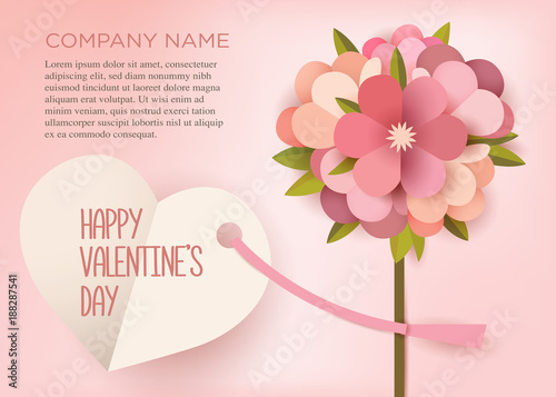 Greeting card Bouquet of paper flowers on a pink background with a
