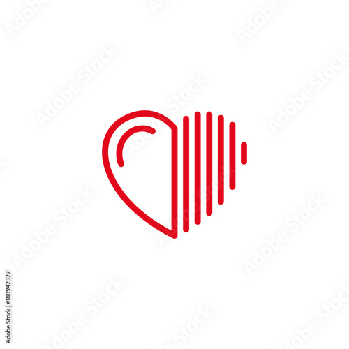 Half Love with lines on the sides Icon Simple Heart Illustration