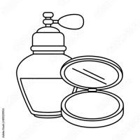 """women perfume bottle whit makeup powder vector ..."