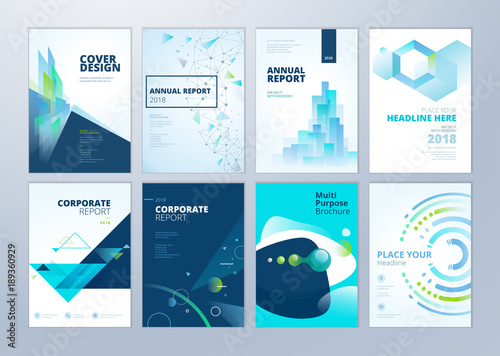 Set of brochure, annual report, flyer design templates in A4 size