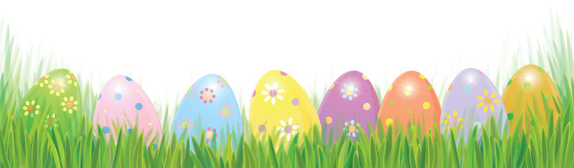 Vector Easter eggs in green grass solated border, Easter background