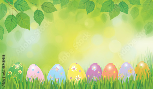 Vector Easter eggs in grass and birch leaves border, Easter