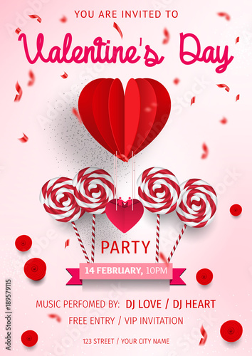 Happy Valentine\u0027s Day Party Flyer love Invitation card Valentine\u0027s - 's day party invitation