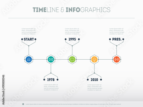 Timeline infographic with icons and buttoms Vector time line or