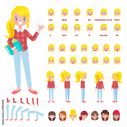 Flat Vector Student Girl character for your scenes Character