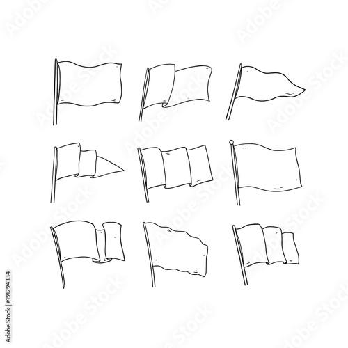 Hand drawn vector illustration of flag on white background Blank