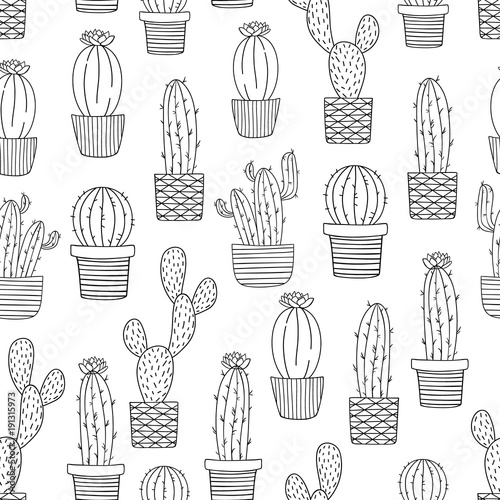 Black and white cactus seamless pattern Cute hand drawn doodle of