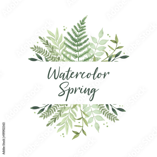 Vector watercolor illustration Spring is coming Botanical frame
