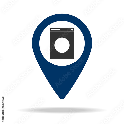 place of the household appliances store in blue map pin icon