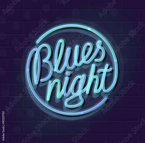 Neon blues night round lettering Night illuminated wall street or - neon lettering