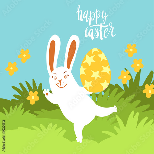Happy Easter card template with cute white bunny holding a decorated
