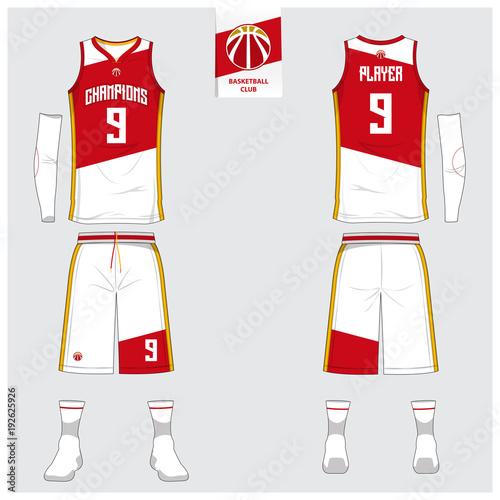 Basketball jersey or sport uniform, shorts, socks template for