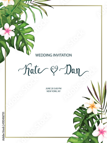 Wedding card Invitation template for save the date Floral