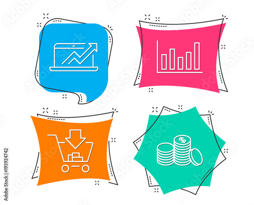 Set of Column chart, Sales diagram and Shopping icons Banking money - Sale Chart