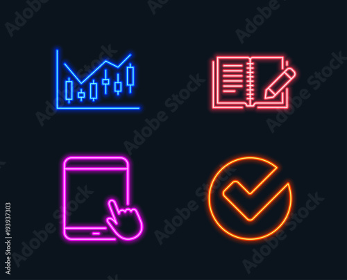 Neon lights Set of Financial diagram, Feedback and Tablet pc icons
