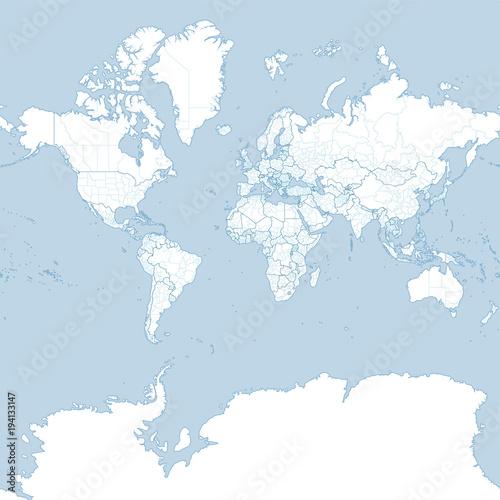 Cartina del mondo, planisfero politico Cartina politica con confine
